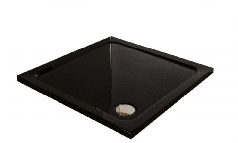 Premium Low Profile Gloss Black Stone Resin Square Shower Tray